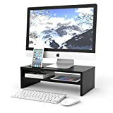 1home Wood Monitor Stand Arm Riser Desk Storage Organizer, Speaker TV Laptop Printer Stand with Cellphone Holder and Cable Management, 16.7 inch 2 Tiers Shelves Black