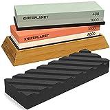 Knife Sharpening Stone Set - 400/1000 and 3000/8000-Grit Professional, Safe Knife Sharpener Set - Whetstone Set Includes Flattening Stone, Bamboo Base, and 2 Nonslip Rubber Bases by KnifePlanet