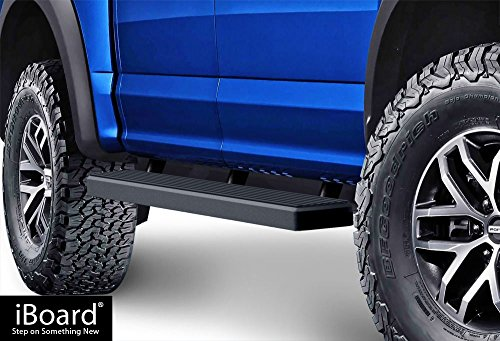 APS iBoard Running Boards 5' Matte Black Custom Fit 2015-2019 Ford F150 SuperCrew Cab Pickup 4-Door / 2017-2019 Ford F-250/F-350 Super Duty (Nerf Bars | Side Steps | Side Bars)