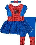 Marvel Spiderman Baby Girls' Costume Dress, Leggings and Headband Set (12-18 Months)