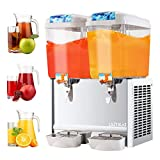 SUNCOO Cold Drink Dispenser 9.5 Gallon Commercial Beverage Iced Fruit Juice Dispenser for Restaurant and Party Temperature Control, 4.75 Gallon Per Tank, 2 Tank with Spigot