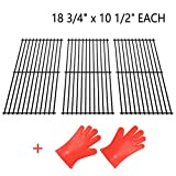 SHINESTAR Grill Grates for Members Mark, Jenn-Air, Kitchen Aid, Brinkmann, Charboirl, Centro and More, 18-3/4 inch Grill Parts Porcelain Steel Replacement Cooking Grids(18-3/4'' x 10-1/2'' Each)