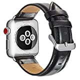 Compatible Apple Watch Band 38mm 40mm, MAPUCE Classic Style Genuine Leather iwatch Bands Stainless Metal Buckle Replacement Strap Compatible Apple Watch Series 5 4 3 2 1 Men Women, Black