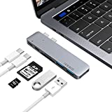 AnyQoo Thunderbolt 3 USB C Hub Type-C Hub Adapter with Pass-Through Charging, 40Gbs Thunderbolt 3, 2 USB 3.0 Ports and SD/TF Card Reader for 13'&15' New MacBook Pro 2016/2017/2018 (Gray)