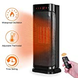 TRUSTECH Electric Space, 750W 1500W Fast Heating Portable Oscillating Ceramic Tower Heater for Office Home Use, with Remote Control, Auto Shut, Black