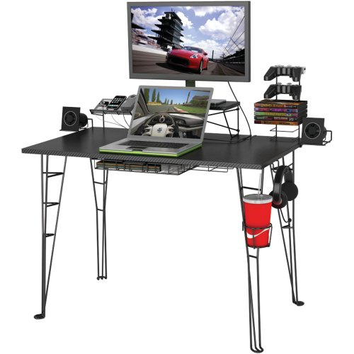 "Atlantic Gaming Desk Multi Function - 32"" TV Stand, Charging Station, Speaker, 5 Game, Controller & Headphone Storage"