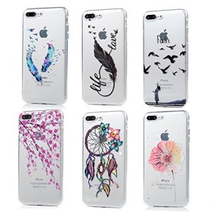 iPhone 7 Plus Case (5.5 inch) – 6 Pcs Shock-absorption Soft TPU Rubber Skin Bumper Case Transparent Crystal Clear Cute Colorful Print Patterns Ultra Thin Slim Protective Cover by Badalink