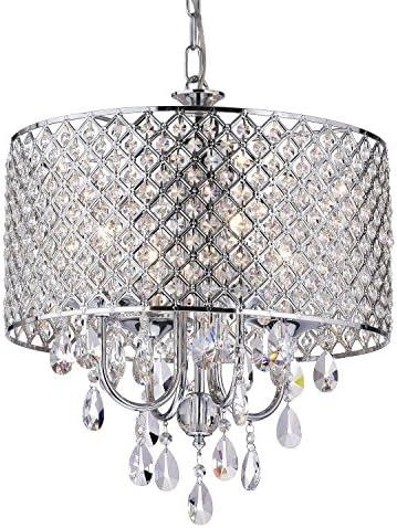 Edvivi Marya 4-Light Chrome Round Crystal Chandelier Ceiling Fixture | Beaded Drum Shade | Glam Lighting 1