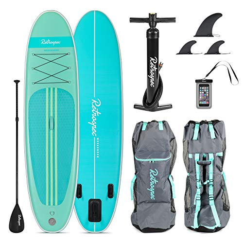 Retrospec Weekender 10' Inflatable Stand Up Paddleboard Triple Layer Military Grade PVC iSUP Bundle w/ paddle board carrying case, aluminum paddle, removable nylon fins, manual pump & cell phone case