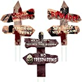 Anguslvy Halloween Decorations Outside Yard Signs Stakes Scary Beware Outdoor Decorations Zombie Vampire Graves Party Supplies (Brown)