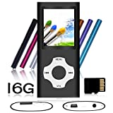Tomameri - Portable MP3 / MP4 Player with Rhombic Button, Including a 16 GB Micro SD Card and Support Up to 64GB, Compact Music, Video Player, Photo Viewer Supported - White-and-Black