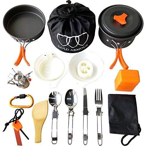 Gold Armour 10-17Pcs Camping Cookware Mess Kit Backpacking Gear & Hiking Outdoors Bug Out Bag Cooking Equipment Cookset | Lightweight, Compact, Durable Pot Pan Bowls (17pcs (Orange))