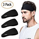 poshei Mens Headband, Mens Sweatband & Sports Headband Running, Crossfit, Cycling, Yoga, Basketball - Stretchy Moisture Wicking Unisex Hairband (Pack of 3), Black