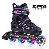 2PM SPORTS Vinal Girls Adjustable Inline Skates with Light up Wheels Beginner Skates Fun Illuminating Roller Skates for Kids Boys and Ladies - Violet L