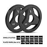 Day 1 Fitness Cast Iron Olympic 2-Inch Grip Plate for Barbell, 5 Pound Set of 2 Plates Iron Grip Plates for Weightlifting, Crossfit - 2' Weight Plate for Bodybuilding