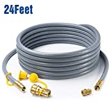 GASPRO 24 Feet 1/2' ID Natural Gas Hose, Propane Gas Grill Quick Connect/Disconnect Hose Assembly with 3/8' Female Flare by 1/2' Male Flare Adapter for Outdoor NG/Propane Appliance