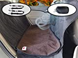 Ultimate Pet Seat Cover and Dog Hammock Features Dark Brown Washable Fleece Mat, Mesh Window and Metal Buckles - 5-Piece Set