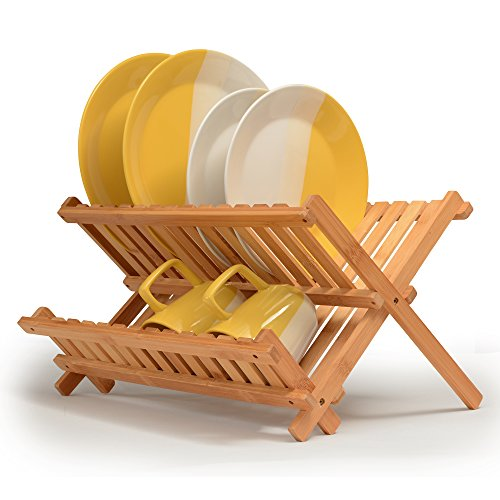 Bamboo Dish Rack Folding Dish Drainer Wooden Plate Rack Collapsible Drying Rack. Made of 100% Natural Bamboo, for Holding Plates and Lower Shelf for Cups, Glass and Utensils, By: Bambusi