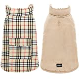 SCENEREAL Dog Winter Clothes Reversible Jacket Warm Coat Windproof Waterproof Plaid Vest Christmas Suit for Small Medium Large Dogs Pets Cold Weather Wearing, Beige XL
