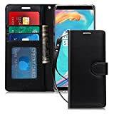 FYY [Luxury Genuine Leather] Wallet Case for Galaxy Note 8, [Kickstand Feature] Flip Folio Case Cover with [Card Slots] and [Note Pockets] for Samsung Galaxy Note 8 Black
