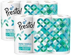 Amazon Brand – Presto! Flex-a-Size Paper Towels, Huge Roll, 6 Count = 15 Regular Rolls