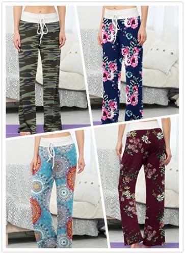 LONGYUAN Women's Comfy Pajama Pants Casual Yoga Pants Drawstring Palazzo Lounge Pants Wide Leg for All Seasons 4