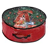 """Wreath Storage Bag By Propik Polyester Tear Resistant Fabric For Holiday Easy Storage With Clear Window Featuring Heavy Handel's And Transparent Card Slot 30"""" X 30"""" X 8"""" (Red)"""