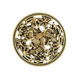 QIHOO Norse Medieval Viking Shield Symbol Brooch Celtic Norse Vintage Jewelry (Gold)