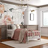 DHP Jenny Lind Metal Bed, 4 Post Queen Size Frame, White Canopy