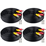4x100ft BNC Cable All-in-One Siamese Video and Power Security Camera Cable Extension Wire Cord with 2 Female Connectors for All Max 5MP HD CCTV DVR Surveillance System (4x100ft Cable, Black)