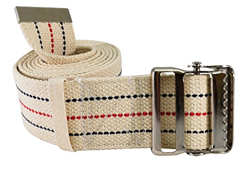 Secure SGBM-60S Patient Transfer and Walking Gait Belt with Metal Buckle and Belt Loop Holder for Caregiver, Nurse, Therapist, etc. (60' x 2' (Beige/Striped))