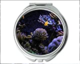 Mirror,Compact Mirror,red fish theme of Pocket Mirror,portable mirror 1 X 2X Magnifying