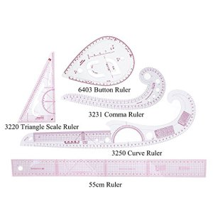 RZDEAL 5 Style Plastic Fashion Ruler Set Vary Form Triangle Curve Button 55cm Graded Sewing Set (Centimeter/Inch)