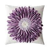 OiseauVoler Decorative 3D Flower Throw Pillow Covers Cushion Cases Handmade Square Home Sofa Bed Room Farmhouse Decor 18 x 18 Inch Purple