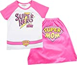 Mother's Day Super Hero Mom Womens' Raglan T-Shirt & Cape, White & Pink (X-Large)