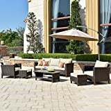 ovios Patio furnitue, Outdoor Furniture Sets,Morden Wicker Patio Furniture sectional with Table and Waterproof Covers,Backyard,Pool,Aluminum,Brown,Beige (8 Piece, Beige)