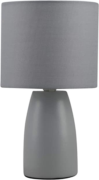 Clive Grey Ceramic 25cm Table Lamp Bedside Light With Matching Shade Amazon Co Uk Lighting