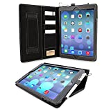 Snugg iPad 9.7 (2017/2018) and iPad Air Executive Leather Case Cover Protective Flip Stand - Black