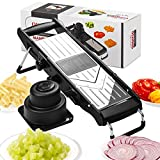 [Upgraded] Mandoline Slicer - Stainless Steel V-Blades Adjustable Thickness,Vegetable Slicer Food Slicer Dicer Cutter Chopper Grater & Julienne with Safety Guard