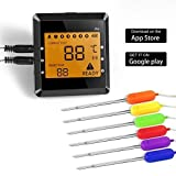 NiceHyacinth Wireless Meat Thermometer for Grill Smoker, Digital Cooking Meat Thermometer Bluetooth Wireless BBQ Thermometer with 6 Probes Dual Probes Food Thermometer for Smoker Oven Grill Kitchen