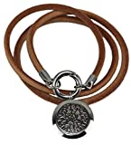 Genuine Leather Essential Oil Diffuser Necklace/Bracelet Wrap with Leakproof Locket - Hypoallergenic 316L Surgical Grade Stainless Steel 25mm Aromatherapy Jewelry 5 Reusable Pads, Microfiber Pouch