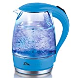 Elite Platinum EKT-300BL Glass Electric Tea Kettle Hot Water Heater Boiler BPA Free with LED Indicator, Fast Boil and Auto Shut-Off, 1.7L, Blue