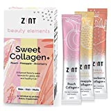 Zint Sweet Collagen Powder Beauty Drink Mix (Peach): Sugar-Free Collagen Peptides Drink w/ Glucosamine, Hyaluronic Acid, Vitamin C, Acai Extract (30 5g Packets)