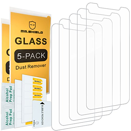 [5-Pack]- Mr Shield for iPhone X/iPhone Xs [Tempered Glass] Screen Protector [0.3mm Ultra Thin 9H Hardness 2.5D Round Edge] with Lifetime Replacement Warranty