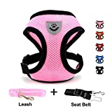 INVENHO Mesh Harness with Padded Vest for Puppy and Cats No Choke Design Ventilation Gift with One Leash & Seat Belt (Extra Small, Pink)