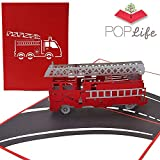 PopLife Fire Engine 3D Pop Up Fathers Day Card - Happy Anniversary Pop Up Card, Birthday Popup, Firemen Gift, Retirement Fire Truck Card - for Dad, for Son, for Father, for Grandfather, for Grandson