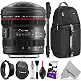 Canon EF 8-15mm f/4L Fisheye USM Ultra-Wide Zoom Lens w/Advanced Photo and Travel Bundle - Includes: Altura Photo Sling Backpack, Monopod, Camera Cleaning Set