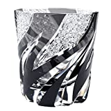 Crystal Double Old Fashioned Glass Edo Kiriko Cut Glass Homura Fire Flame - Black [Japanese Crafts Sakura]
