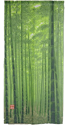 Noren Curtain Tapestry Bamboo forest (85 × 170cm) Green