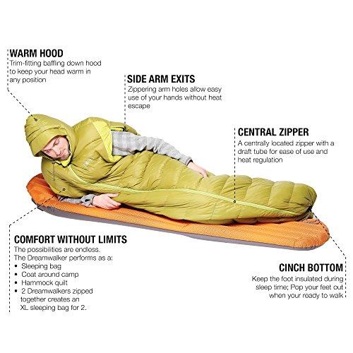 Exped DreamWalker -2°C/+28°F Down Sleeping Bag, Lichen Green, Large